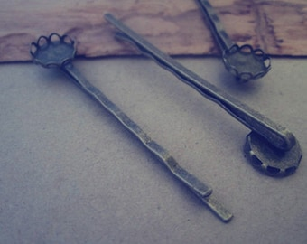 10pcs antique bronze  long hair clips/hair pins 10mm