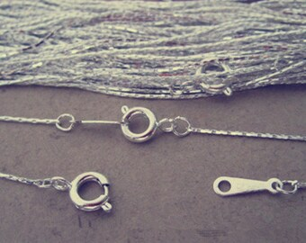 30pcs 1mm  17inch  silver color steel wire necklace with spring ring clasp