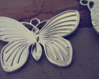 2pcs silver color butterfly  pendant charm 47mmx67mm