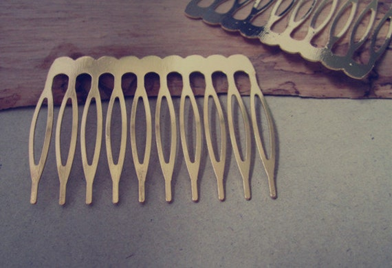 30 Pcs  50mmx 36mm (10teeth) Gold color Hair Combs