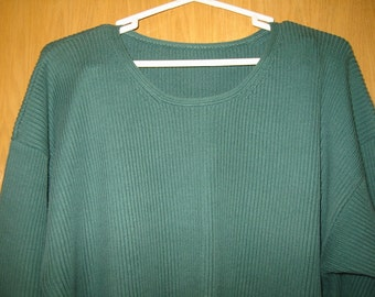 vintage   loden green  cotton 'Nordstrom' sweater  -  womens size 2X