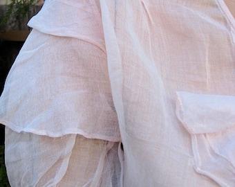 1920s / 30s sheer pink frilled organza shirt - former dress - Sz XS, S