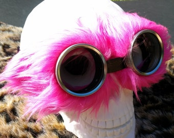 Neon Pink fluff fur. Steampunk Goggles Air Pirate explorer Eyewear