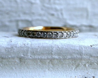 Vintage 9K White/ Yellow Gold Pave Diamond Eternity Wedding Band - 1.08ct.
