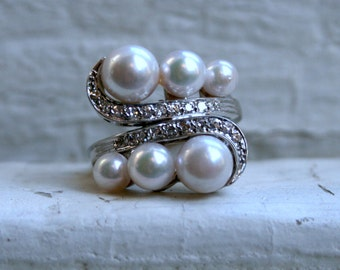RESERVED - Vintage Retro 14K White Gold Pearl and Diamond Ring.