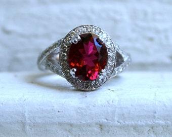Vintage 14K White Gold Diamond and Pink Tourmaline Halo Ring - 3.70ct.