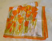 Vintage Vera Neumann Scarf with Orange and Olive Green Tulips
