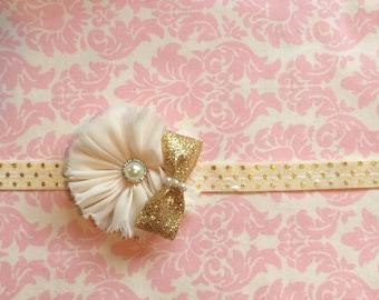 Cream and gold polka dot headband/ Newborn headband/ Baby girlheadband
