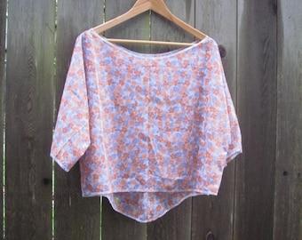 Romantic Floral Hi Lo Crop Top/ Wide Neck Eco Half Shirt/ Summer Blouse M/L