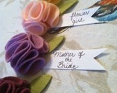 Felt flower brooch name tags for bridal shower baby shower