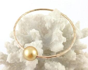 Large Golden South Sea Pearl Bangle 14kt Gold Filled