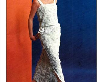 1960s Irish Crochet Dress, Sleeveless Shell and Long Slit Skirt - Crochet pattern PDF 6567
