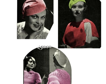 eBook 1930s Hats Sweaters and Dresses Clarks ONT Fashions Crochet and Knitting Book 29 - 22 Knit and Crochet patterns PDF 0029