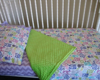 Toddler Bedding Owl Forest Life and Chevron by Michael Miller and Riley Blake Fabrics