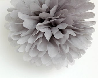 Grey Tissue Paper Pom Poms- Wedding, Birthday, Bridal Shower, Baby Shower, Party Decorations, Garden Party