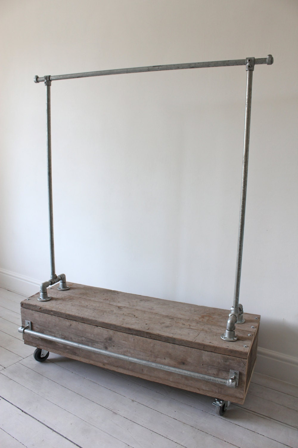 Galvanised Steel Pipe Clothes Rail with Reclaimed by inspiritdeco