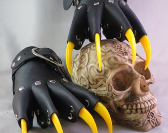 Black Leather Gothic Steampunk Yellow Claw Gauntlets / Gloves