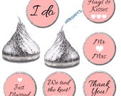 Wedding Kiss Sticker Label, Hershey Printable Pink Wedding Favors Candy Sticker, DIY Instant Download (010)