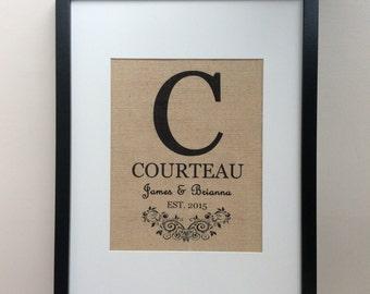 "Personalized Burlap Wedding Gift - 8"" x 10"" Burlap Print - Monogram, Name, Established Date - Engagement Gift, Shower Gift, Anniversary Gift"