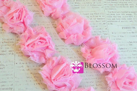 1/2 or 1 Yard Increment - PETITE Light Pink - Chiffon Shabby Rose Trim - approx 10 flowers per half yard