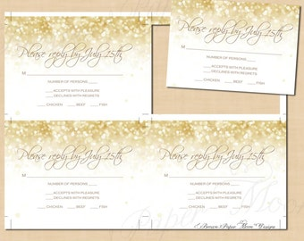 White Gold Sparkles RSVP/Response Cards (5x3.5): Text-Editable, Printable, Instant Download