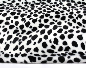 Black and White Animal Print Faux Fur Dalmatian Fabric