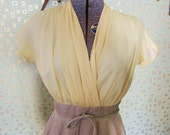 SALE 20% OFF 1950's Vintage Yellow and Beige Wiggle Dress