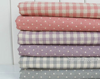 Half Yard Cotton Linen Fabric for craft, polka dots or gingham for choice,diy,colorful fabric,garment accessory (QT317)