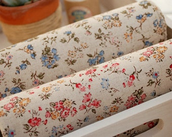 Retro Cotton Linen with Floral,Leaf,Pattern,Vintage Style,diy,Sewing , Zaka DIY Fabric, 1/2 yards (QT330)