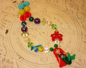 "1# Little Mermaid inspired ""Ariel"" with Sebastian/flounder theme Chunky Bead Necklace"