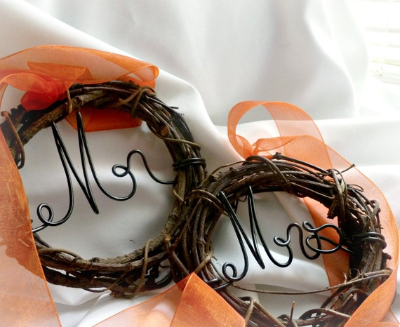 Chair Signs, Mr Mrs, Bride Groom With Ribbon