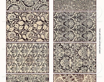 Vintage Black and white Christmas Damask ATC backgrounds Gift Tags Collage Sheet Printable as an instant Digital Download File
