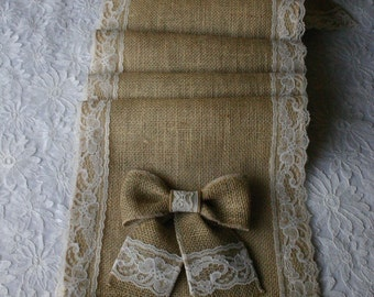 Burlap and lace table runners, French country weddings, shabby chic, rustic elegance