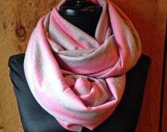 Extra wide knit infinity scarf - Pink sparkle stripe
