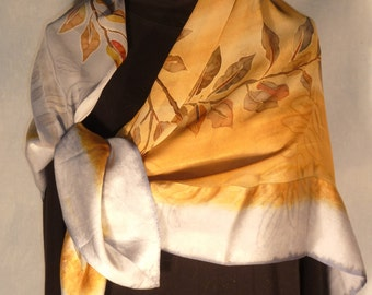 Handpainted Silk Chiffon Scarf Shawl with Silk Satin Borders in Golden Bronze and Silver Gray