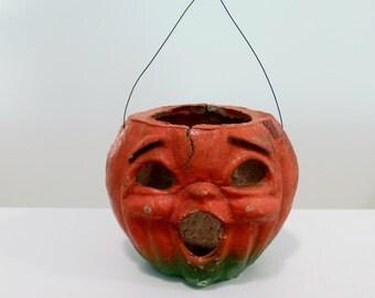 Old Paper Mache Halloween Jack O Lantern Pulp Choir Boy Pumpkin with Original Wire Handle