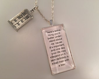Exclusive Doctor Who TARDIS Charmed Interpreted Quote Necklace, TARDIS Jewelry, Mad Man with a Box Pendant