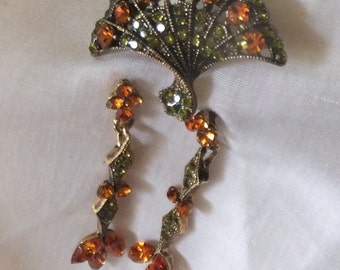 Amber and Peridot Brooch/Pin and Earrings
