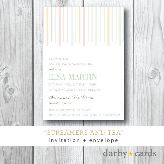 Streamers and Tea |  Bridal Shower or Birthday Party Invitation | Printed or Printable by Darby Cards