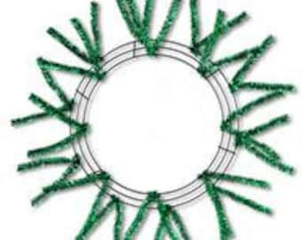 Metallic Emerald Green Work Wreath with Pencil Ties - Metallic Emerald Green Work Wreath Frame - XX751106