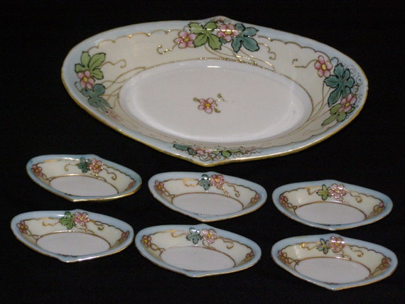 Antique Nut And Salt Cellar Porcelain Set One Bowl Six Salt