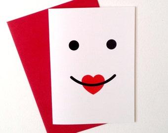 Big Kiss Anniversary card, Cute Anniversary Card, fun love card, Cute Valentines, Boyfriend Card, girlfriend card, husband card