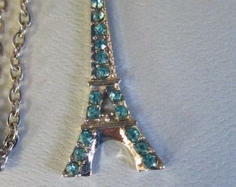 Handmade  Eiffel Tower blue faux rhinestones pendant necklace with silver tone chain and lobster clasp closure