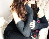Dark Grey Fingerless Gloves, Extra Fine Merino Wool - Long Arm Warmers,  Womens Mittens, wool armwarmers