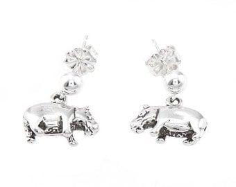 Sterling Silver Hippopotamus Hippo Dangle Earrings
