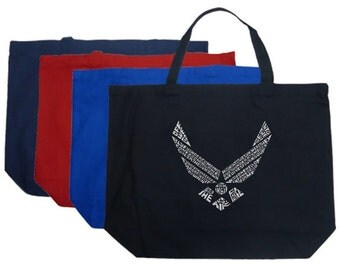 Large Tote Bag - Created out of the Lyrics To The Air Force Song