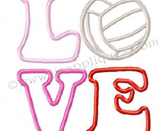 Sports Designs - LOVE Volleyball Embroidery Applique Design  - LOVE Volleyball Applique Design for 4x4, 5x7, 6x10 hoops - Instant Download
