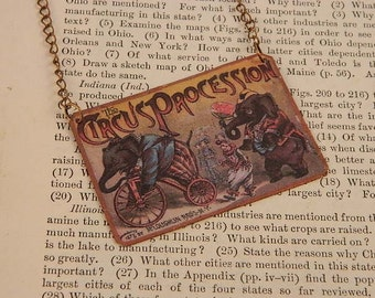 Circus Necklace Elephants Circus Poster mixed media jewelry Circus jewelry