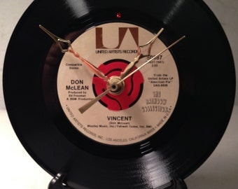 """Recycled DON McLEAN 7"""" Record / Vincent / Record Clock"""