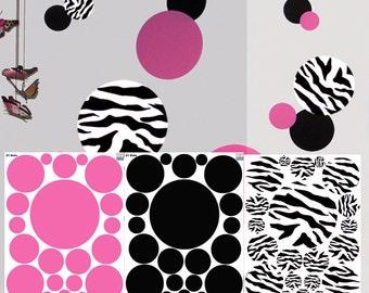 Zebra, Pink & Black Polka Dotted Wall Decals
